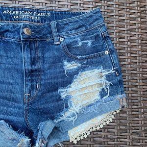 American Eagle Hi-Rise Festival Lace Denim Shorts